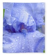 Iris Rainy Day Blue Fleece Blanket