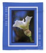 Iris White With Design Fleece Blanket