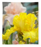 Irises Botanical Garden Yellow Iris Flowers Giclee Art Prints Baslee Troutman Fleece Blanket
