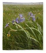 Irises By The Sea Fleece Blanket