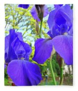 Irises Floral Garden Art Print Blue Purple Iris Flowers Baslee Troutman Fleece Blanket