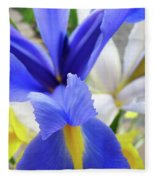 Irises Flowers Artwork Blue Purple Iris Flowers 1 Botanical Floral Garden Baslee Troutman Fleece Blanket