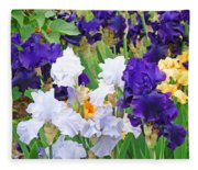 Irises Flowers Garden Botanical Art Prints Baslee Troutman Fleece Blanket
