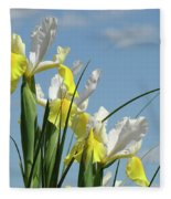 Irises In Blue Sky Art Print Spring Iris Flowers Baslee Troutman Fleece Blanket