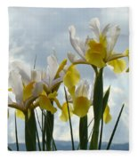 Irises Yellow White Iris Flowers Storm Clouds Sky Art Prints Baslee Troutman Fleece Blanket