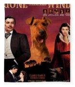 Irish Terrier Art Canvas Print - Gone To The Wind Movie Poster Fleece Blanket