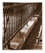Iron Fence With Shadows Fleece Blanket