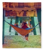 Island Dreams Under The Pier Watercolors Painting Fleece Blanket