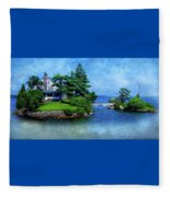 Island Home With Bridge - My Happy Place Fleece Blanket