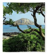 Island Through The Trees Fleece Blanket