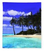 Island With Palm Trees Fleece Blanket