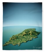 Isle Of Man 3d View South-north Natural Color Fleece Blanket