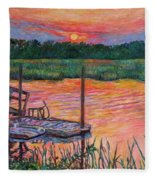 Isle Of Palms Sunset Fleece Blanket