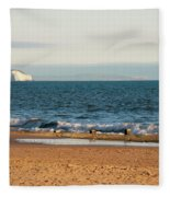 Isle Of Wight As Seen From Bournemouth Beach Fleece Blanket