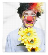 Isolated Clown In A Funny Summer Romance Fleece Blanket