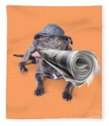 Isolated Newspaper Dog Carrying Latest News Fleece Blanket