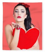 Isolated Pin Up Woman Holding A Heart Shaped Sign Fleece Blanket