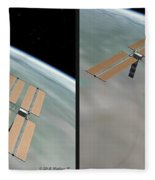 Iss - Gently Cross Your Eyes And Focus On The Middle Image Fleece Blanket