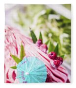 Italian Gelato Raspberry Ice Cream With Blue Umbrella Fleece Blanket