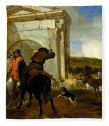 Italian Landscape With Horsemen By A Spring Fleece Blanket
