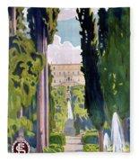 Italy Tivoli Vintage Travel Poster Restored Fleece Blanket