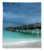 It's Getting Stormy At The Pier Fleece Blanket