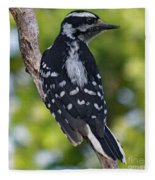 I've Got Your Back - Female Downy Woodpecker Fleece Blanket