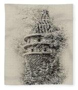 Ivy Covered Castle In The Woods Fleece Blanket