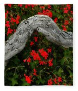 Ivy Geraniums And Log Fleece Blanket