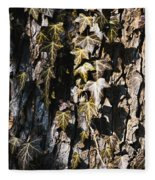 Ivy Leaves Grunge Tone Fleece Blanket