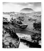 Iwo Jima Beach Fleece Blanket