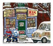 J J Joubert Vintage Milk Truck At Marvin's Grocery Montreal Memories Street Hockey Best Hockey Art Fleece Blanket