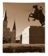 Jackson Square In New Orleans - Sepia Fleece Blanket