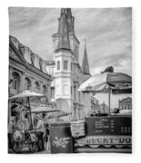 Jackson Square Scene New Orleans - Bw  Fleece Blanket