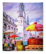 Jackson Square Scene - Painted - Nola Fleece Blanket