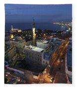 Jaffa At Night Aerial View Fleece Blanket