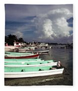 Jamaican Fishing Boats Fleece Blanket