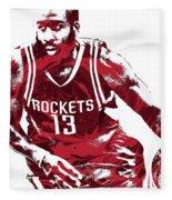 James Harden Houston Rockets Pixel Art 3 Fleece Blanket