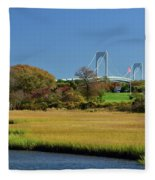 Jamestown Marsh With Pell Bridge Fleece Blanket