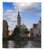 Jan Van Eyck Square With The Poortersloge From The Canal In Bruges Fleece Blanket