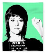 Jane Fonda Mug Shot - Mint Fleece Blanket