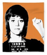 Jane Fonda Mug Shot - Orange Fleece Blanket