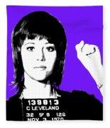 Jane Fonda Mug Shot - Purple Fleece Blanket