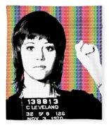 Jane Fonda Mug Shot - Rainbow Fleece Blanket