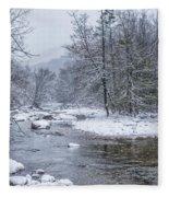 January Snow On The River Fleece Blanket