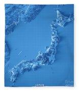 Japan 3d Render Topographic Map Blue Border Fleece Blanket