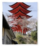 Japan Itsukushima Temple Fleece Blanket
