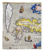 Japan: Map, 1606 Fleece Blanket