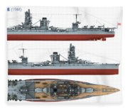 Japanese Battleship Ise Fleece Blanket