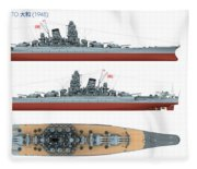 Japanese Battleship Yamato Fleece Blanket